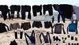 Pyykkiä kuivumassa aidalla al-Holin leirissä viime tammikuussa.