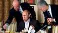 """""""Putinin kokiksi"""" kutsuttu Jevgeni Prigožin (vasemmalla) tarjoili presidentti Vladimir Putinille Moskovan lähellä Cheval Blanc -ravintolassa vuonna 2011."""