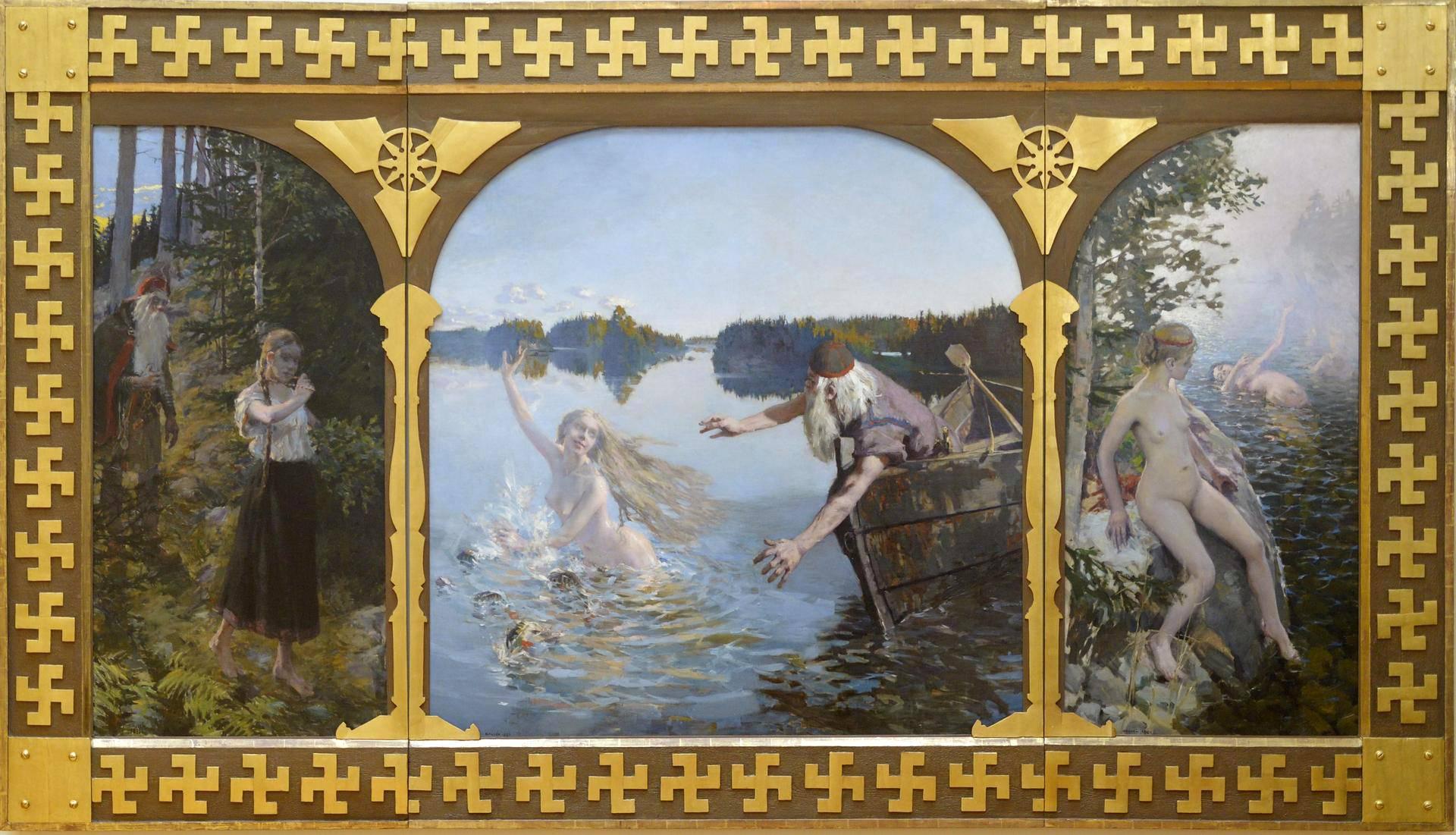 Akseli Gallen-Kallelan Aino-triptyykin ensimmäinen versio on vuodelta 1889.