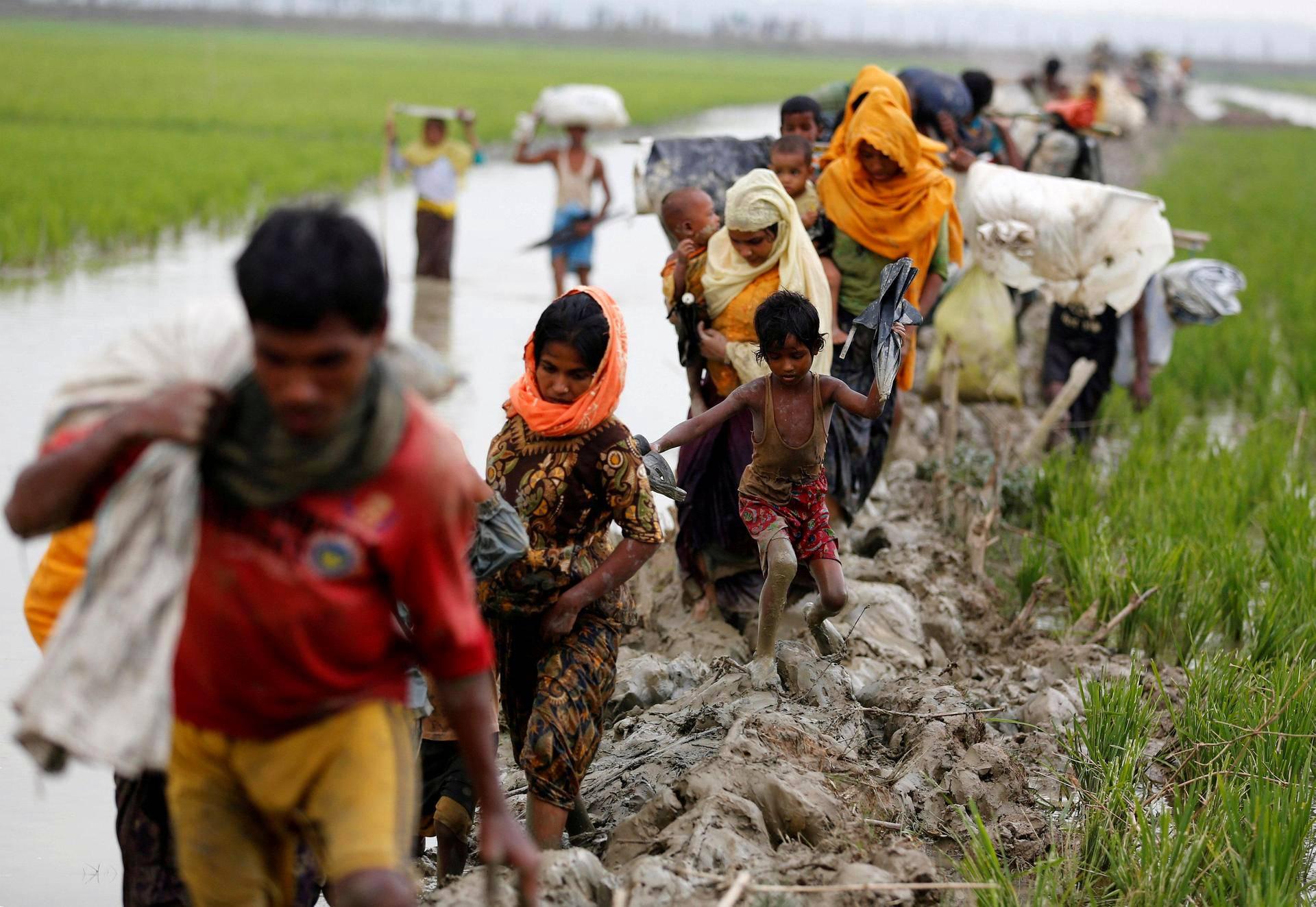 Myanmarista paenneita rohingya-perheitä vaeltamassa Bangladeshiin sunnuntaina Teknafin alueella. Myanmarissa rohingya-muslimeja pidetään laittomina siirtolaisina, eikä heillä ole kansalaisoikeuksia.