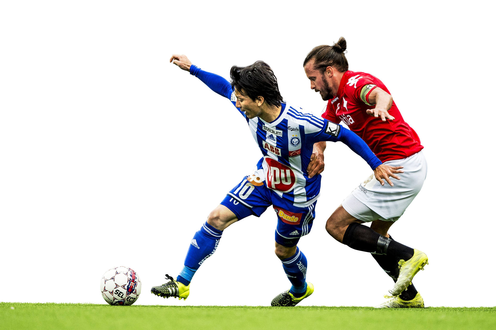 HJK:n Atomu Tanaka ja HIFK:n Jukka Halme (oik.) ovat joukkueidensa taistelutahdon ruumiillistumia, ja todennäköinen kamppailupari, mikäli pelaajat ovat yhtäaikaa kentällä.