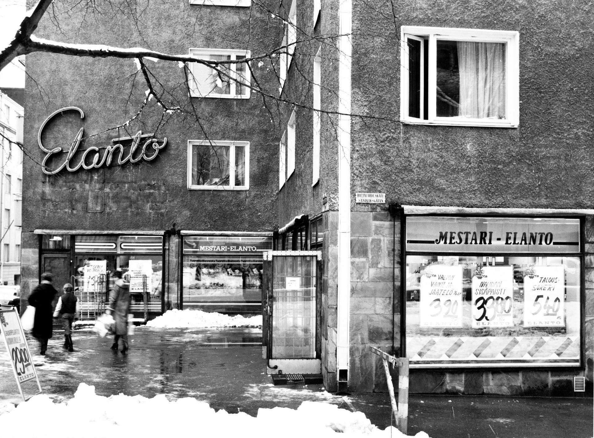 Eerikinkatu 39:ssä Helsingissä sijaitsi 1980-luvulla Elanto.