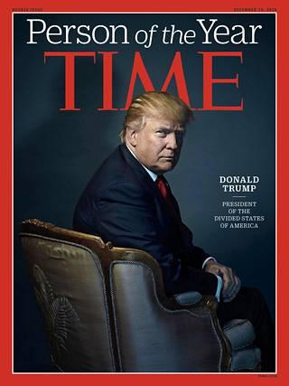Presidentiksi valittu Donald Trump Timen kannessa joulukuussa 2016.