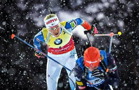 Kaisa Mäkäräinen hiihti Venäjän Tjumenissa 25. maaliskuuta 2018.