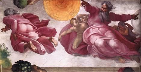 Michelangelon maalaama fresko Auringon ja kuun luominen Sikstuksen kappelissa Vatikaanissa. Vasemmalla Jumala kuvattuna takaapäin.