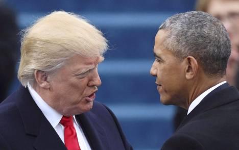 Presidentti Donald Trump ja presidentti Barack Obama Trumpin virkaanastujaisissa tammikuussa.