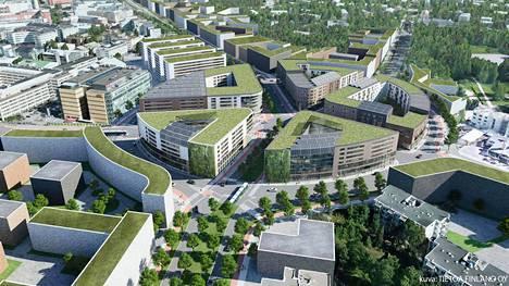 Viitteellinen havainnekuva Haagan liikenneympyrään suunniteltavista taloista.