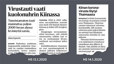 Ensimmäisiä koronavirusaiheisia uutisia Helsingin Sanomien printtilehdessä tammikuussa 2020.