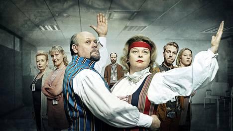Sisäilmaa-sarjan näyttelijät tekevät upeaa työtä. Mukana ovat muun muassa Sari Siikander (vas.), Milka Ahlroth, Hannu-Pekka Björkman, Juho Milonoff, Elina Knihtilä, Jarkko Niemi ja Satu Tuuli Karhu.
