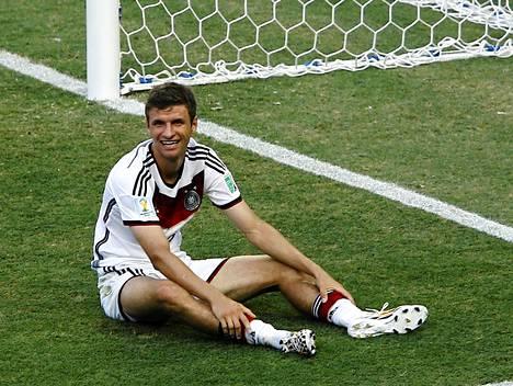 Saksan Thomas Müller on MM-kisojen maalitilastossa toisena kolmella maalillaan.