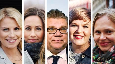 Saara-Sofia Sirén, Jaana Pelkonen, Timo Soini, Annika Saarikko ja Hanna Kosonen