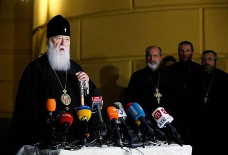 Patriarkka Filaret piti tiedotustilaisuuden Kiovassa torstaina.