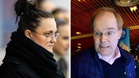Valmentaja Mirjami Penttinen ja HSK:n puheenjohtaja Mikael Nyberg