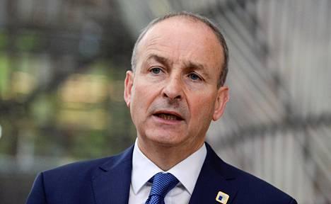 Irlannin taoiseach eli hallituksen johtaja Mícheál Martin kuvattuna Eu-huippukokouksessa 16. lokakuuta, Belgiassa.