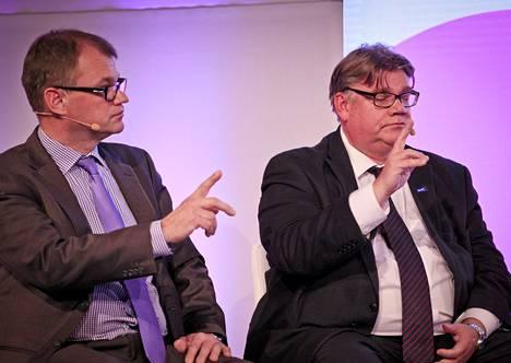 Juha Sipilä ja Timo Soini pyysivät puheenvuoroa Mediapäivillä.