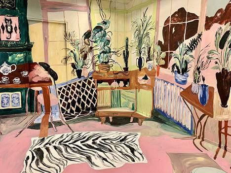 Juliana Hyrrin maalaus sekä täyttää että esittää kokonaista huonetta.