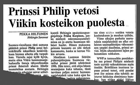 Helsingin Sanomat kertoi prinssi Philipin vierailusta 4. toukokuuta 1995.