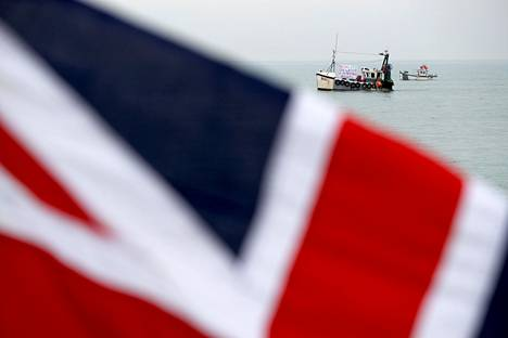 EU-eroa kannattaneita brittikalastajia Hastingsissä huhtikuussa 2018.