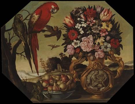 Tuntemattoman taiteilijan teos Kukkia ja papukaijoja on vuodelta 1658.