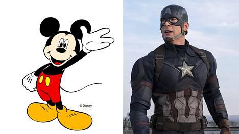 Mikki Hiiri on klassinen Disney-hahmo, Captain America on mukana uusimmassa Disneyn hittielokuvassa Agengers: Endgame.
