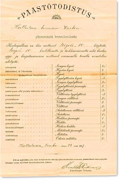 Todistuksessa on käytetty koulumestari Antti Jauhon arvosteluasteikkoa vuodelta 1905.