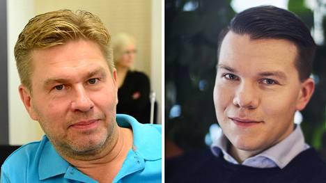 J. Kärkkäinen oy -tavarataloketjun omistaja Juha Kärkkäinen (vas.) ja Sdp:n valtuutettu ja Demarinuorten puheenjohtaja Mikkel Näkkäläjärvi.