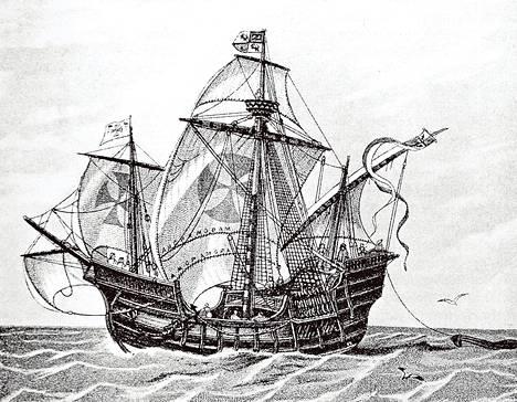 Taiteilijan näkemys tutkimusmatkailija Kristoffer Kolumbuksen lippulaivasta Santa Maríasta.