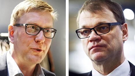 Ylen vastaava päätoimittaja Atte Jääskeläinen (vas.) ja pääministeri Juha Sipilä.