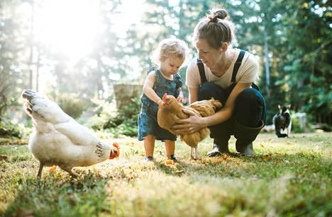 """""""Mitä kana sanoo?"""" Vuorovaikutteinen juttelu on hyödyllistä lapsen puhumaan oppimisen kannalta."""