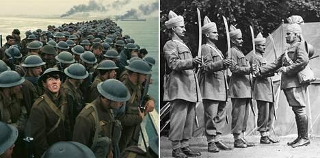 Oikealla olevassa kuvassa intialaismajuri tarkastaa Dunkerquesta evakuoituja intialaissotilaita leirissään englantilaisessa kylässä heinäkuussa 1940. Dunkirk-elokuvassa ei intialaisia nähdä.