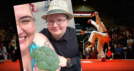 Taustalla Karate Kid -leffan legendaarinen kurkipotkukohtaus, joka inspiroi tamperelaista Anna Miettistä vaihtamaan sukunimensä Kurkipotkuksi. Edessä tänään perjantaina vihityt Anna (edessä) ja Peeta Kurkipotku!