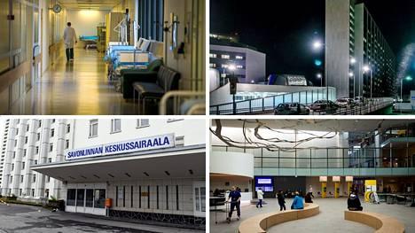 Länsi-Pohjan keskussairaala Kemissä (vas. ylh.), Meilahden sairaala Helsingissä, Savonlinnan keskussairaala ja Tampereen yliopistollinen sairaala.