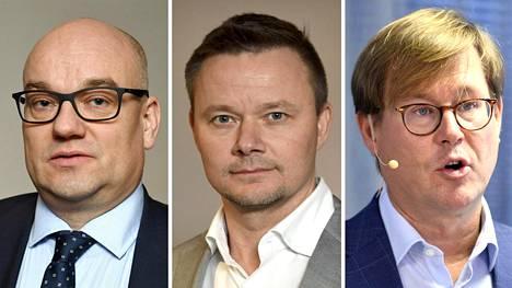 Pihlajalinnan toimitusjohtaja Joni Aaltonen (vas.), Mehiläisen toimitusjohtaja Janne-Olli Järvenpää ja Terveystalon toimitusjohtaja Yrjö Närhinen.