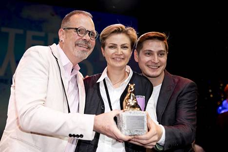 Welcome to Chechnya won the Teddy Prize at the Berlin Film Festival in February for best film on lgbtq themes.  Pictured are director David France (left) and activists Olga Baranova and Maxim Lapunov appearing in the film.