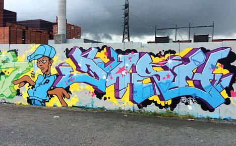 Jashin toteuttama graffitimaalaus.