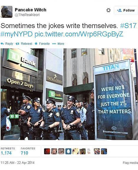 """New Yorkin poliisin internetkampanja meni viime viikolla mönkään. Yhdessä tiuhaan levitetyistä kuvista katumainos julistaa: """"Me emme ole kaikkia varten. Vain yhdellä prosentilla on väliä."""""""