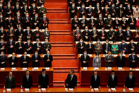 Closing event of the meeting of the Chinese People's Conference in Beijing on March 10.  In front of the middle of President Xi Jinping.