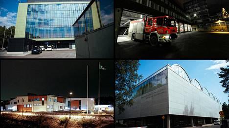 Rangaistukset koskivat muun muassa kuvassa olevia rakennuskohteita. Vasemmalta ylhäältä lukien Herttoniemen metrovalvomo, Kallion pelastusasema, Latokartanon peruskoulu ja Pirkkolan uima- ja palloiluhalli.