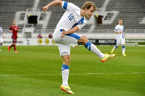 Teemu Pukki teki keskiviikkona kaksi maalia Olympiastadionilla.