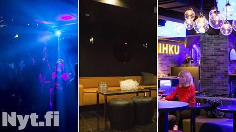 DTM:ssä (vas.) ja Skohanissa vesi maksaa erikseen tilattuna. Ihku on yksi Helsingin yökerhoista, jossa sitä saa ilmaiseksi.