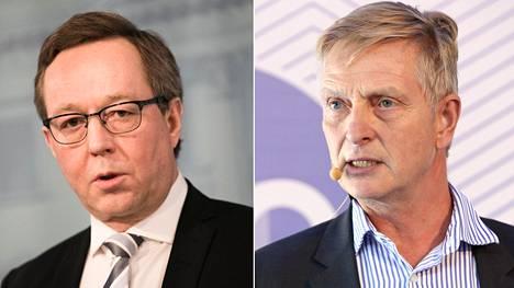 Omistusohjausministeri Mika Lintilä (kesk) ja omistusohjausosaston päällikkö Eero Heliövaara.