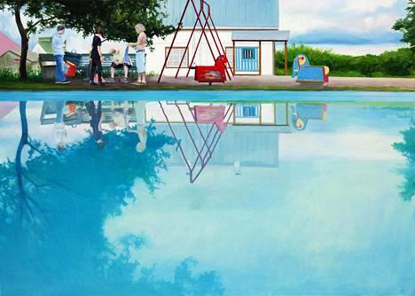 Paula Ollikaisen Norsulampi -maalauksen voi nähdä Villa Roosan kesänäyttelyssä.
