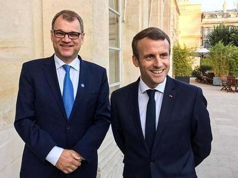 Pääministeri Juha Sipilä tapasi Ranskan presidentin Emmanuel Macronin Pariisissa viime syyskuussa.