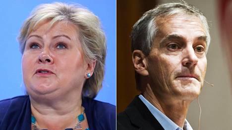 Erna Solberg (vas.) johtaa keskustaoikeistolaista Høyre-puoluetta ja Jonas Gahr Støre (oik.) työväenpuoluetta.