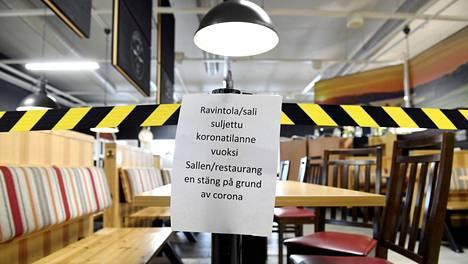 ABC:n ravintolan suljettu sali Siuntiossa.