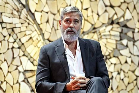George Clooney puhui torstaina Nordic Business Forumissa Helsingin Messukeskuksessa.