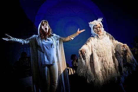 Kertojana toimiva näyttelijä Martina Roos myös laulaa. DuvTeaternin näyttelijä Irina von Martens esittää pöllöä.
