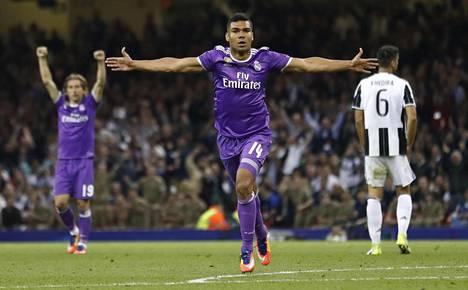 Tämän vuoden Mestarien liigan finaalissa juhli Real Madrid. Kuvassa Casemiro juhlii Realin toista maalia.