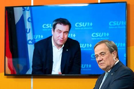 Markus Söder ja Armin Laschet pyrkivät Saksan liittokanslerin Angela Merkelin seuraajaksi.