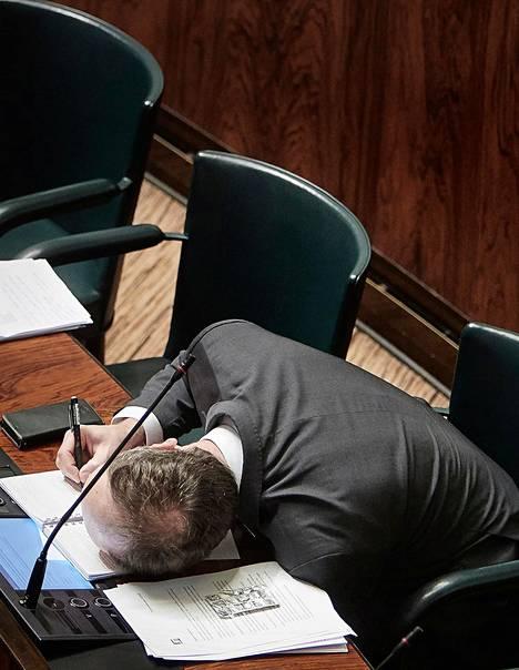 Henkilökuva 2020, kunniamaininta, Timo Pyykkö. Jussi Halla-aho (PS) eduskunnassa 27.2.2020.